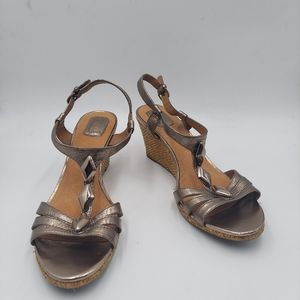 Clarks gold leather ankle strap wedge sandals
